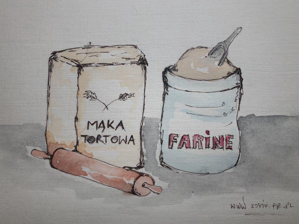 MĄKA - rysunek - mąka, farine, flour porównanie