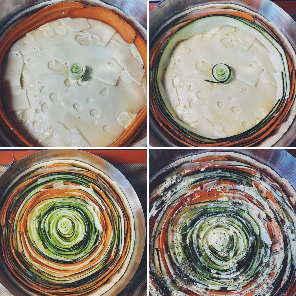 TARTA Z CUKINIĄ I MARCHEWKĄ - etapy układania warzyw